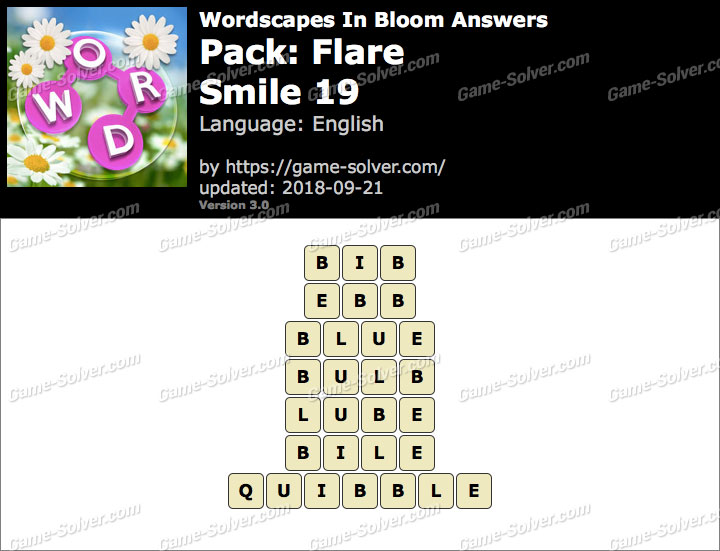 Wordscapes In Bloom Flare-Smile 19 Answers