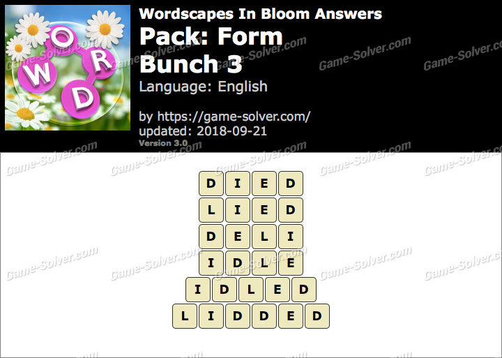 Wordscapes In Bloom Form-Bunch 3 Answers