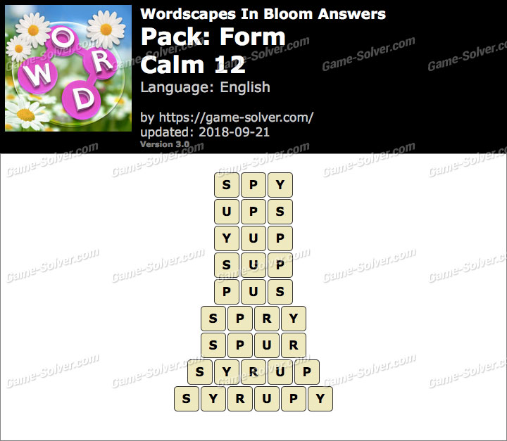 Wordscapes In Bloom Form-Calm 12 Answers