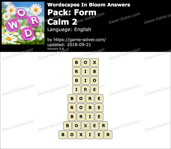 Wordscapes In Bloom Form-Calm 2 Answers