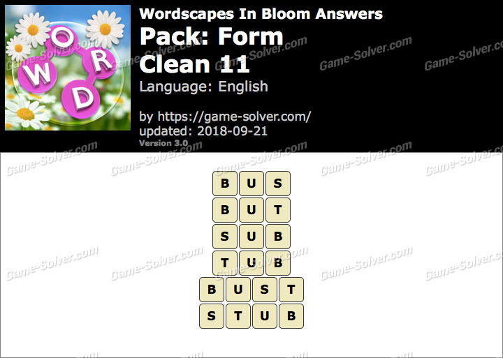 Wordscapes In Bloom Form-Clean 11 Answers