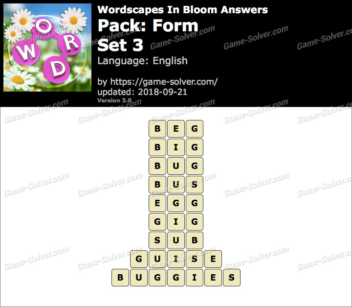 Wordscapes In Bloom Form-Set 3 Answers