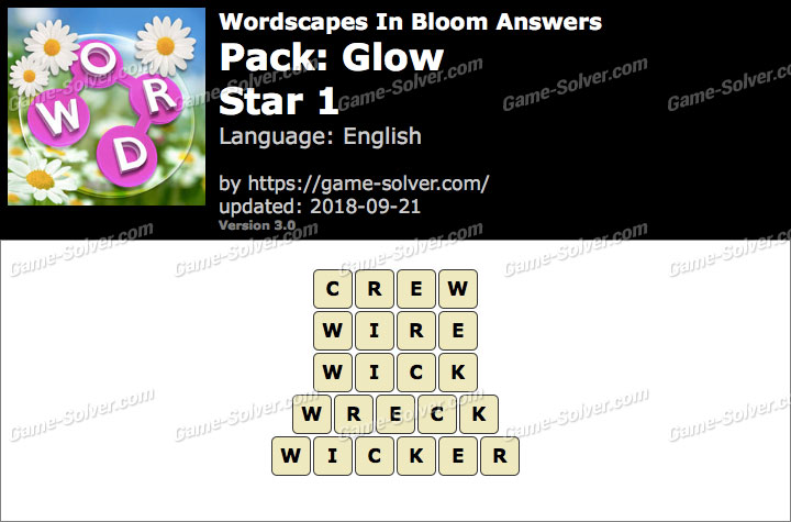 Wordscapes In Bloom Glow-Star 1 Answers