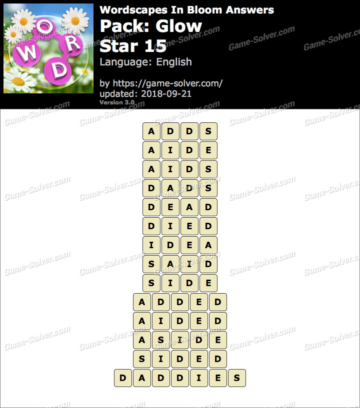 Wordscapes In Bloom Glow-Star 15 Answers