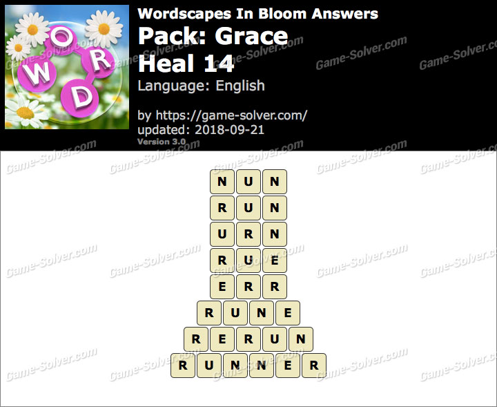 Wordscapes In Bloom Grace-Heal 14 Answers