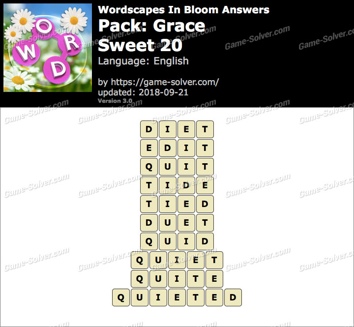 Wordscapes In Bloom Grace-Sweet 20 Answers