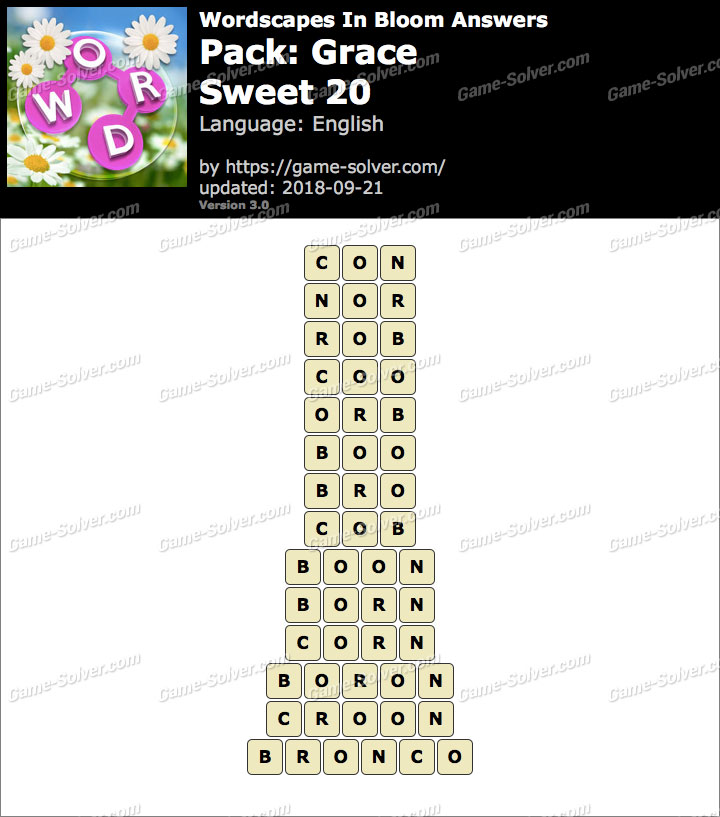 Wordscapes In Bloom Grace-Sweet2 20 Answers