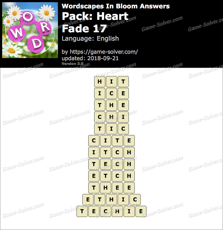 Wordscapes In Bloom Heart-Fade 17 Answers