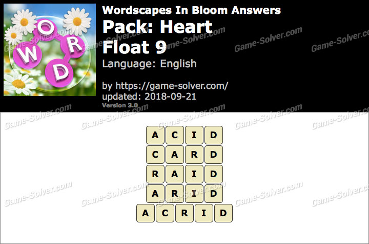 Wordscapes In Bloom Heart-Float 9 Answers