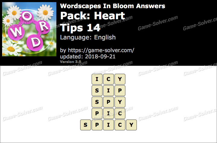 Wordscapes In Bloom Heart-Tips 14 Answers