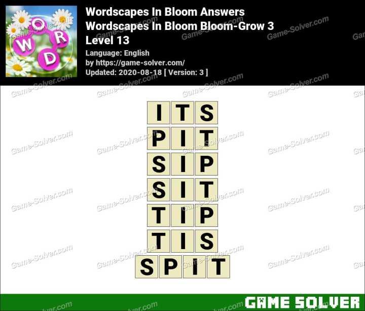 Wordscapes In Bloom Hopeful-Kiku 13 Answers