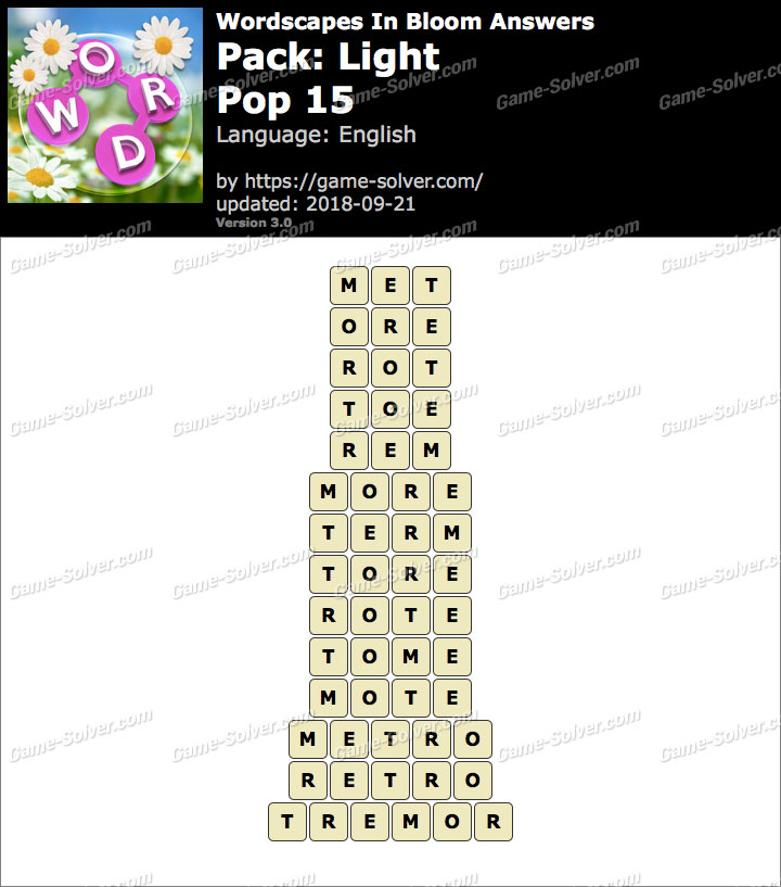 Wordscapes In Bloom Light-Pop 15 Answers