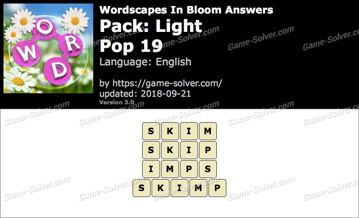 Wordscapes In Bloom Light-Pop 19 Answers