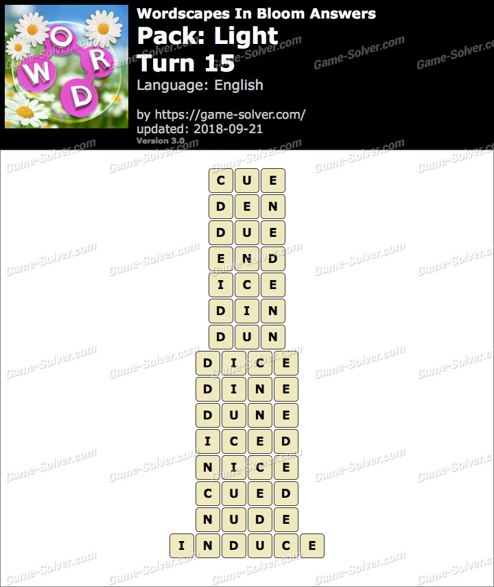 Wordscapes In Bloom Light-Turn 15 Answers