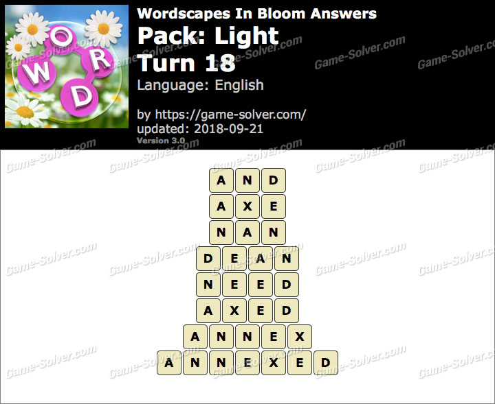 Wordscapes In Bloom Light-Turn 18 Answers
