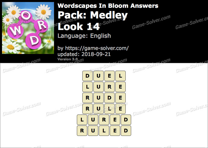 Wordscapes In Bloom Medley-Look 14 Answers