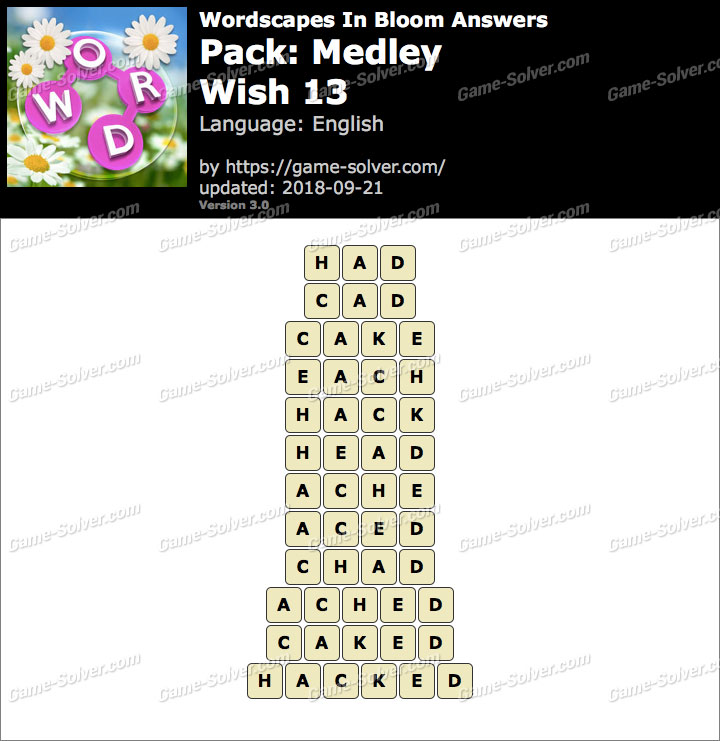 Wordscapes In Bloom Medley-Wish 13 Answers