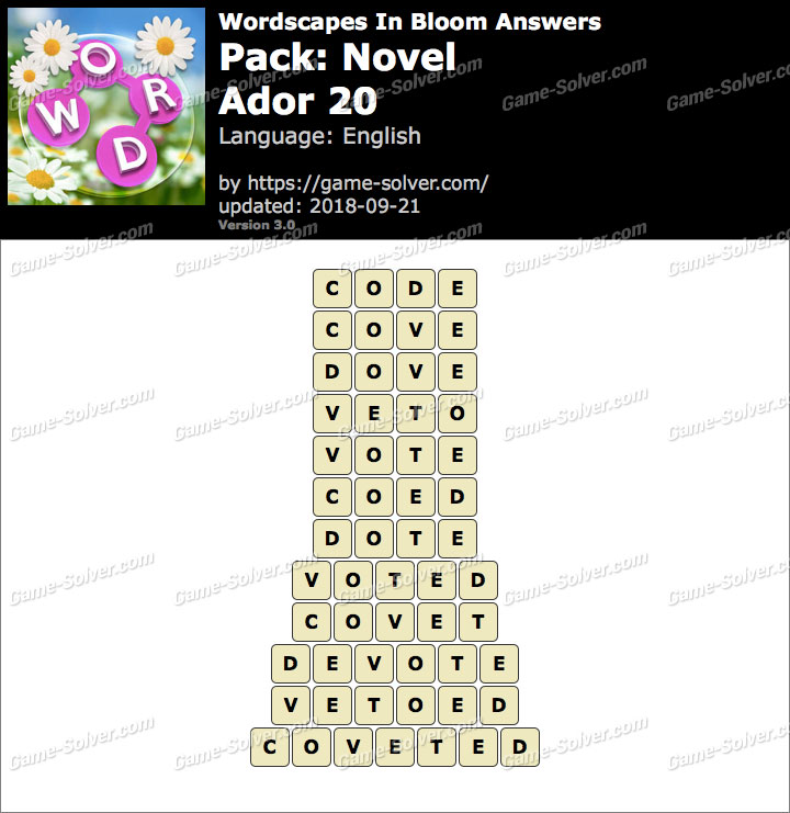 Wordscapes In Bloom Novel-Ador 20 Answers