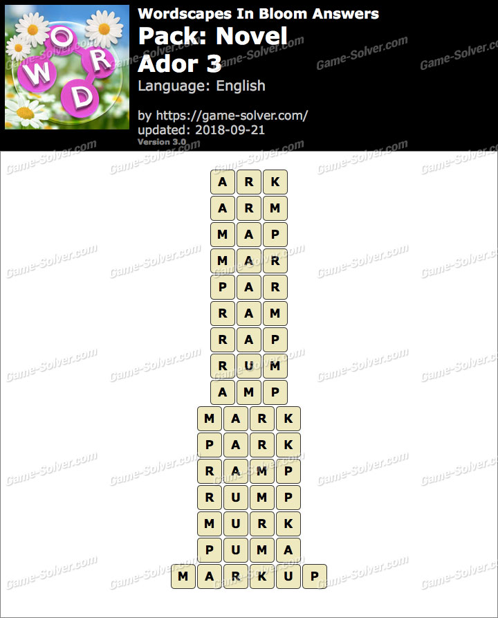 Wordscapes In Bloom Novel-Ador 3 Answers