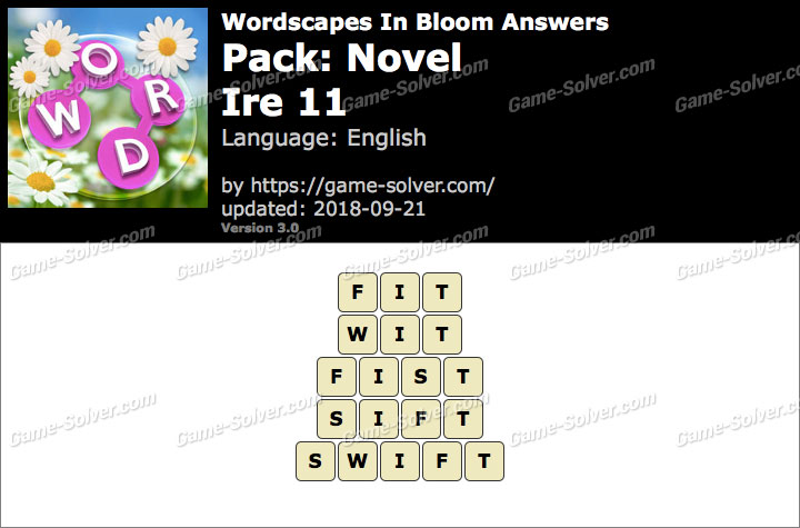 Wordscapes In Bloom Novel-Ire 11 Answers