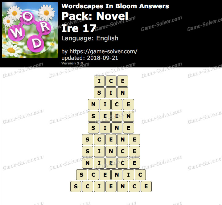 Wordscapes In Bloom Novel-Ire 17 Answers