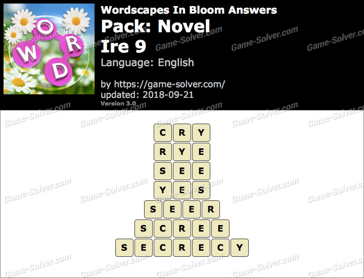 Wordscapes In Bloom Novel-Ire 9 Answers