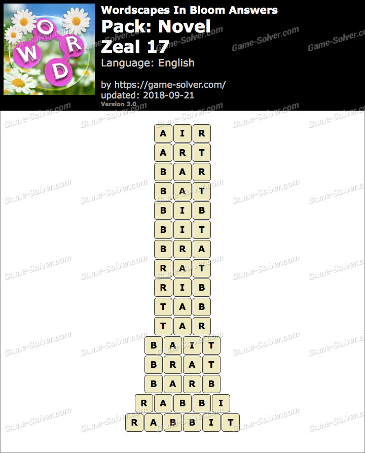 Wordscapes In Bloom Novel-Zeal 17 Answers