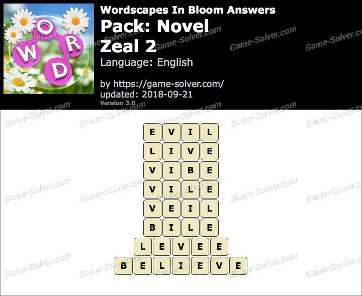 Wordscapes In Bloom Novel-Zeal 2 Answers