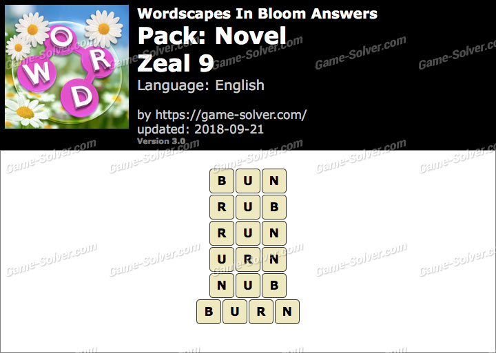 Wordscapes In Bloom Novel-Zeal 9 Answers