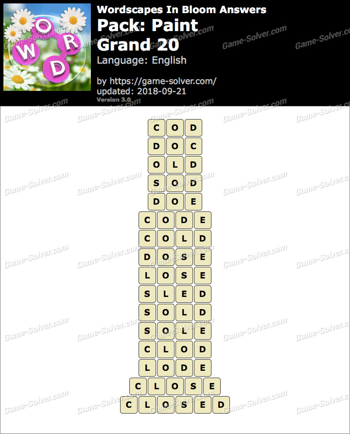 Wordscapes In Bloom Paint-Grand 20 Answers