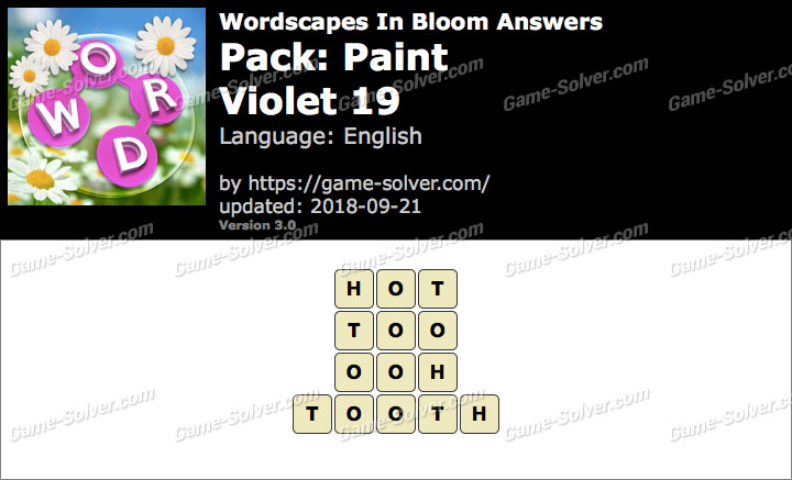 Wordscapes In Bloom Paint-Violet 19 Answers