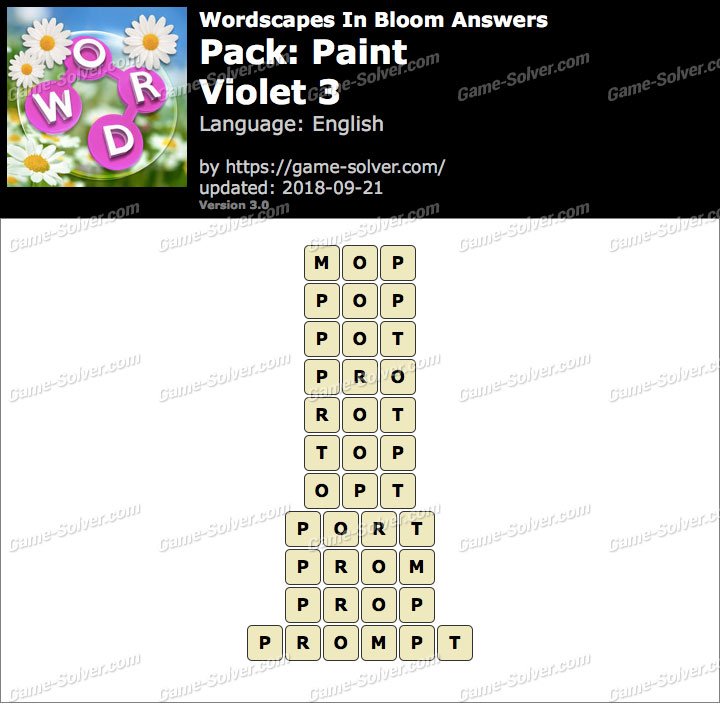 Wordscapes In Bloom Paint-Violet 3 Answers