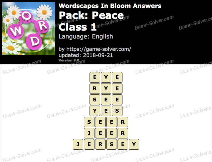 Wordscapes In Bloom Peace-Class 1 Answers