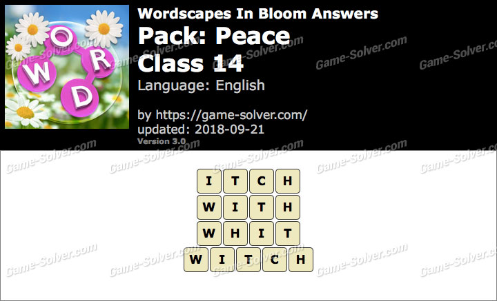 Wordscapes In Bloom Peace-Class 14 Answers