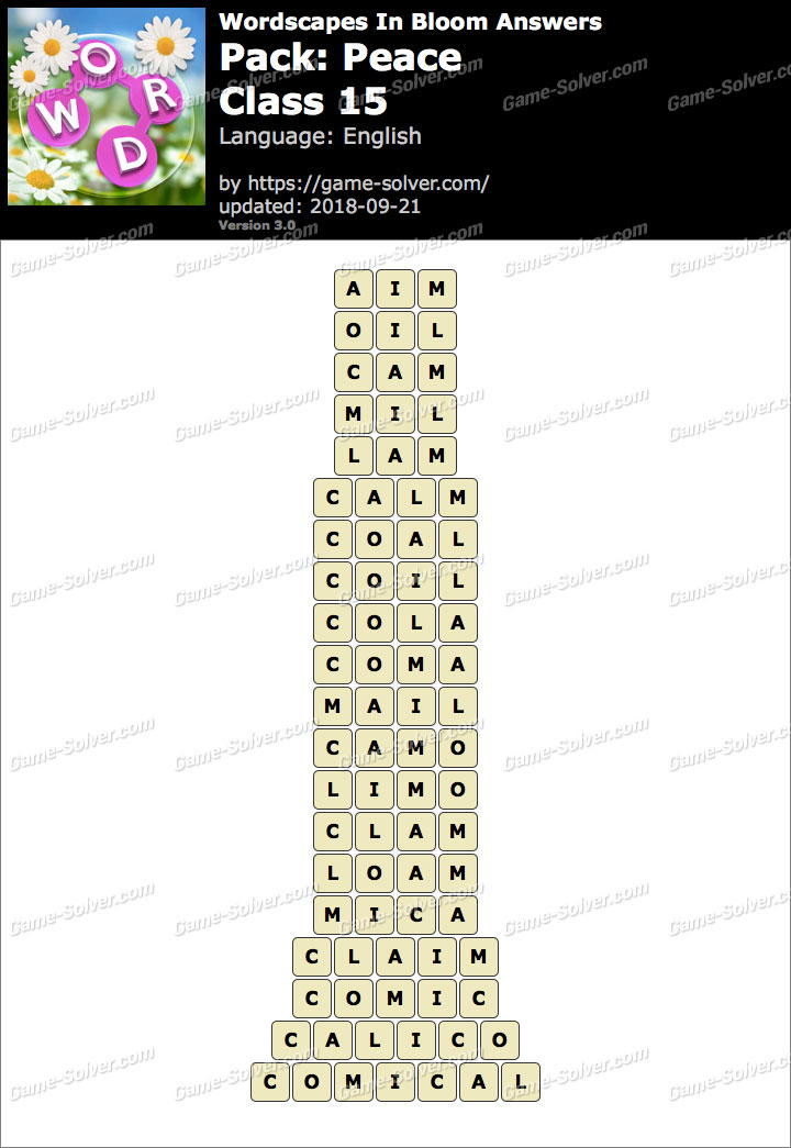 Wordscapes In Bloom Peace-Class 15 Answers