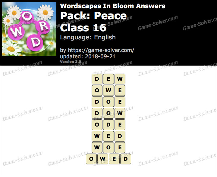 Wordscapes In Bloom Peace-Class 16 Answers