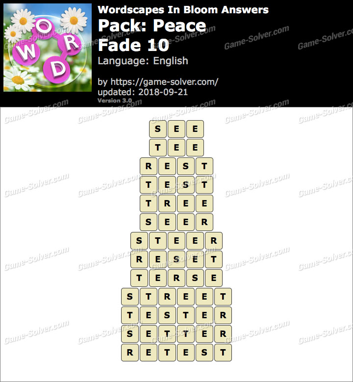 Wordscapes In Bloom Peace-Fade 10 Answers