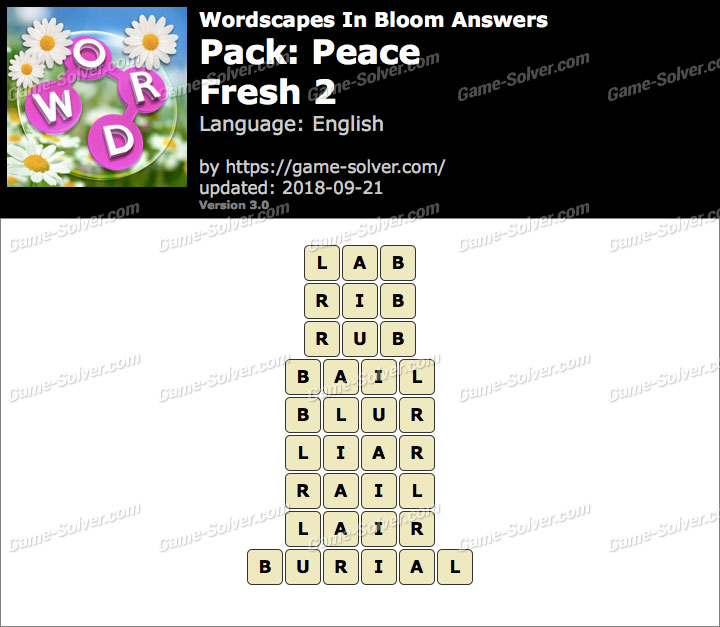 Wordscapes In Bloom Peace-Fresh 2 Answers