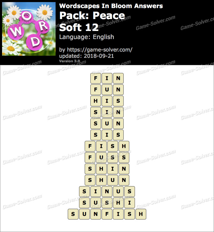 Wordscapes In Bloom Peace-Soft 12 Answers