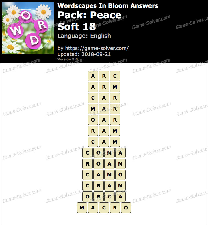 Wordscapes In Bloom Peace-Soft 18 Answers