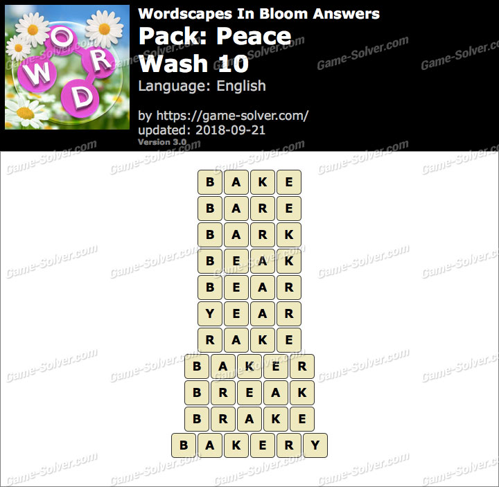 Wordscapes In Bloom Peace-Wash 10 Answers