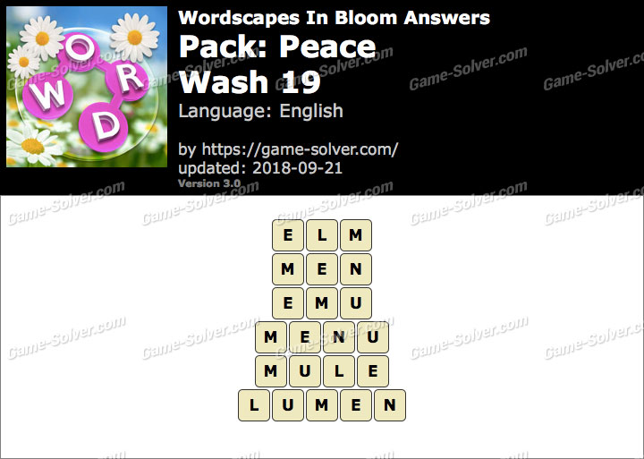Wordscapes In Bloom Peace-Wash 19 Answers