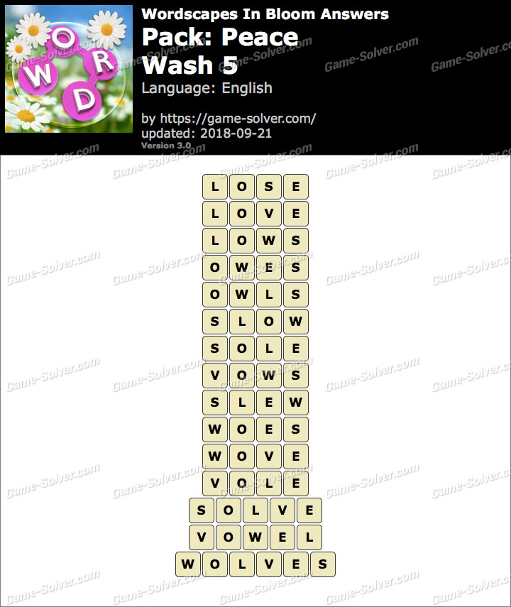 Wordscapes In Bloom Peace-Wash 5 Answers