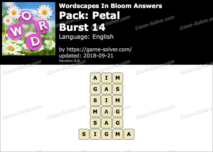 Wordscapes In Bloom Petal-Burst 14 Answers