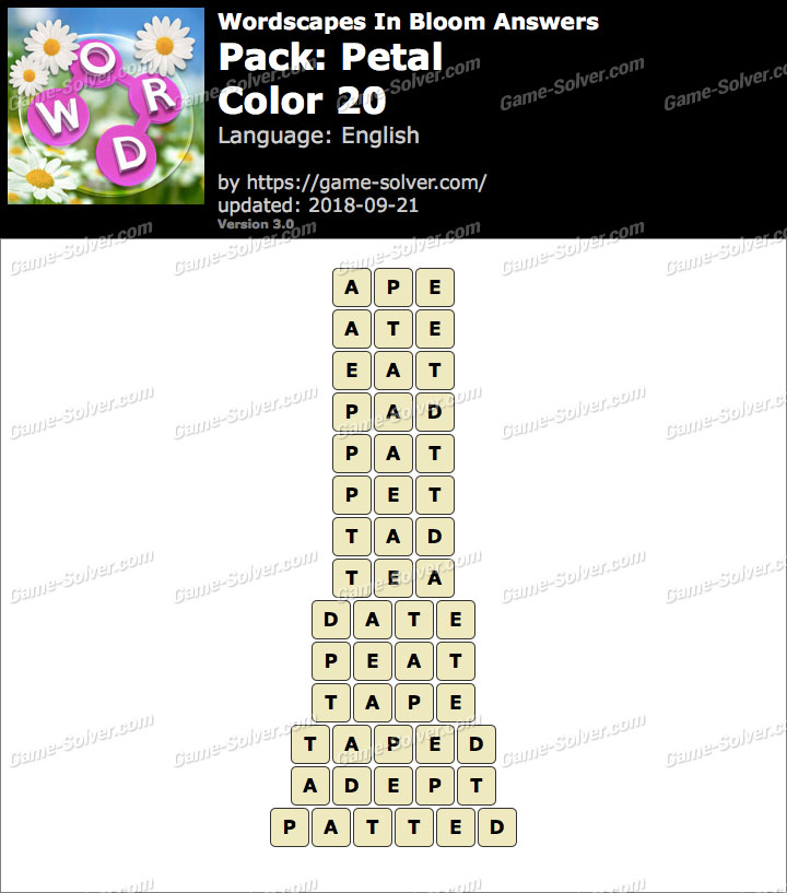 Wordscapes In Bloom Petal-Color 20 Answers