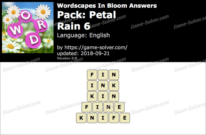 Wordscapes In Bloom Petal-Rain 6 Answers
