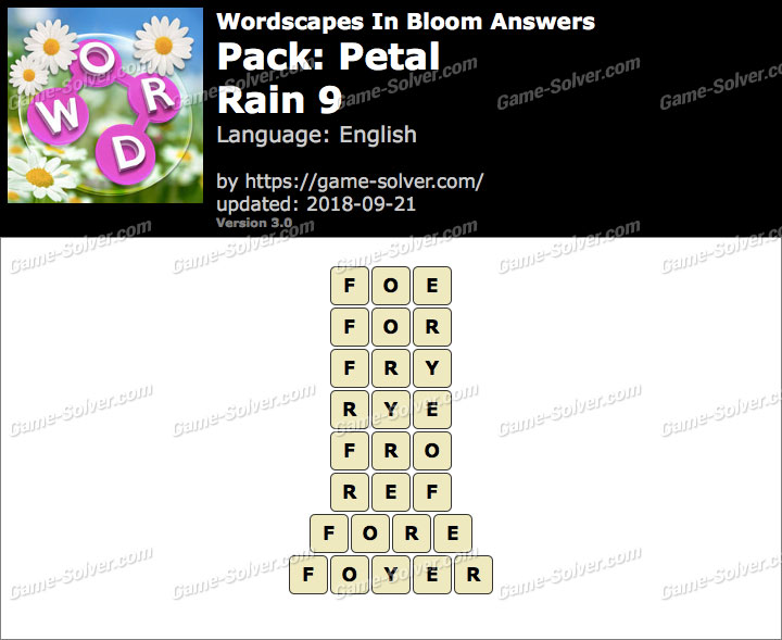 Wordscapes In Bloom Petal-Rain 9 Answers