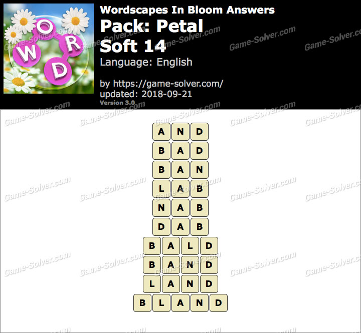 Wordscapes In Bloom Petal-Soft 14 Answers