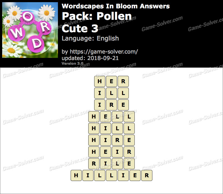 Wordscapes In Bloom Pollen-Cute 3 Answers