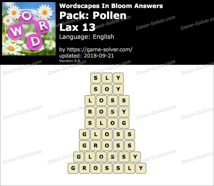 Wordscapes In Bloom Pollen-Lax 13 Answers